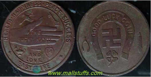 Swastika good luck coins of american manufacturing industry